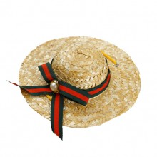 Green-red Striped Ribbon Pet Straw Hat