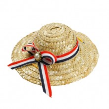 Three Color Striped Ribbon Pet Straw Hat
