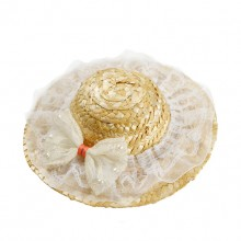 White Lace Bow Pet Straw Hat