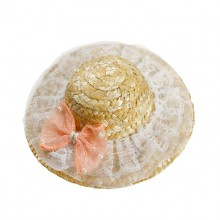 Pink Lace Bow Pet Straw Hat