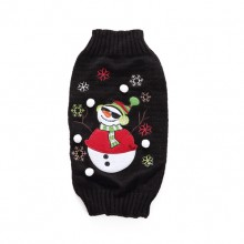 Christmas Snowman Breathable Black Pet Knit Sweater