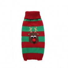 Green Red Stripes Red Nose Elk Pet Turtleneck Sweater