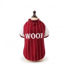 "Wine Red White Stripes ""woof"" Pet Plus Velvet Sweater"