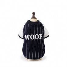 "Navy Blue White Stripes ""woof"" Pet Plus Velvet Sweater"