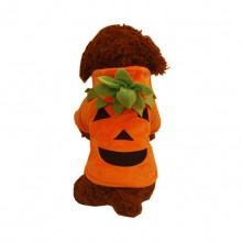 Orange Christmas Halloween Devil Pumpkin Velvet Pet Clothes Transfiguration