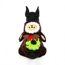 Dark Brown Christmas Snow Elves Cotton Velvet Pet Clothes Transfiguration
