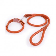Pet Light Brown Cowhide Super Pulling Force Collar And Traction Rope Set