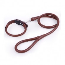 Pet Dark Brown Cowhide Super Pulling Force Collar And Traction Rope Set