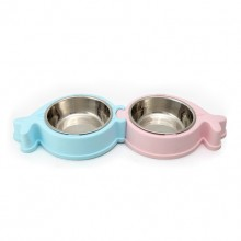 Blue And Pink Whales Separable Non-slip Environmentally Friendly Pet Bowls