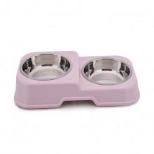 Pink Rectangular High And Low Non-slip Environmentally Friendly Pet Bowls