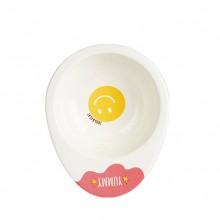 Pink Ceramic Cute Smiley Pet Bowl