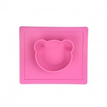 Pink Silica Gel Bear Shape Mat And Bowl Combo Pet Bowl