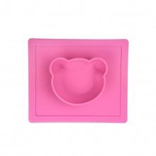 Pink Silica Gel Bear Shape Mat And Bowl Combo Pet Bowl