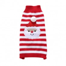 Pet Santa Claus Red Striped Turtleneck Sweater