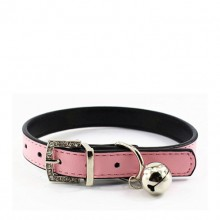 Fine Sheep Skin Pink Pet Bell Pet Collar