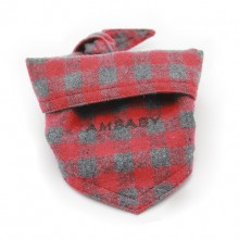 Embroidery Red Plaid Pet Triangle Scarf