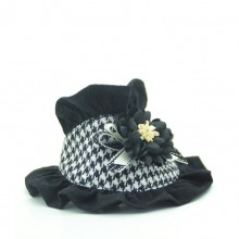 Pet Black Houndstooth Flower Bibs