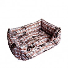 Cotton Printed Brown Square Warm Pet Nest