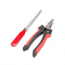 Pet Black-red Nail File And Nail Clippers Set