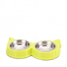 Green Angel Wings Shape Stainless Steel Pet Bowl