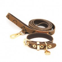 Pet Khaki Flowers Leather Traction Rope Collar Set