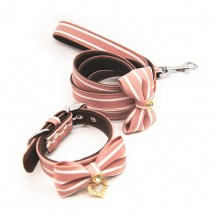 Pet Pink Stripes Leather Traction Rope Collar Set