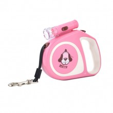 Pink Retractable Pet Traction Rope With Lights