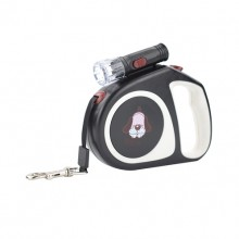 Black Retractable Pet Traction Rope With Lights