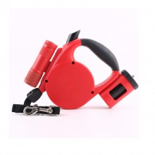 Red Automatic Retractable Nylon Pet Traction Rope With LED Lights