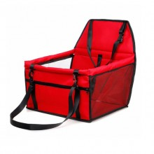 Red Collapsible Breathable Net Yarn Support Rod Car Pet Bag