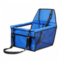 Blue Collapsible Breathable Net Yarn Support Rod Car Pet Bag