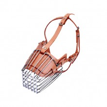 Brown Large Dog Anti-Disorder Eating Stainless Steel Cage Dog Mouth Cover